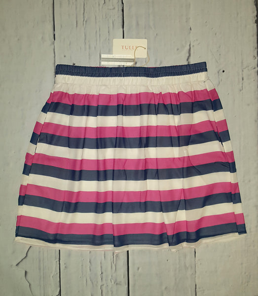 TULLE Preppy Nautical Striped Chiffon Full Skirt Pink Navy XL