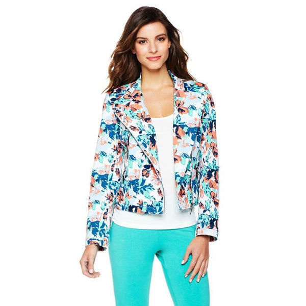 Twiggy London Blue Floral Twill Multi-Zip Moto Cropped Denim Jacket