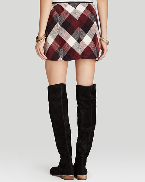 Free People Twiggy Herringbone Plaid Skirt in Burgundy Eggplant S 6 M 8