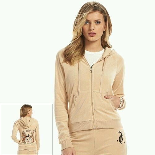 JUICY COUTURE Cuban Sand Glitter Brown Beige Twisted Trim Velour Hoodie S