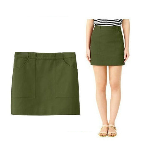 Kate Spade Saturday Utility Pocket Mini Skirt Olive Army Green L 10