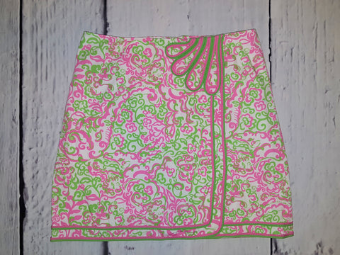 Lilly Pulitzer Vintage 60's Mod Faux Wrap Mini Skirt Pink Green Retro Floral S 4