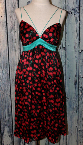 Voom by Joy Han Vintage Style Cherry Print Rockabilly Pin Up Babydoll Dress M