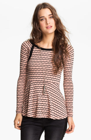 Free People Wavy Pointelle Peplum Striped Button Shoulder Top Pink Black M