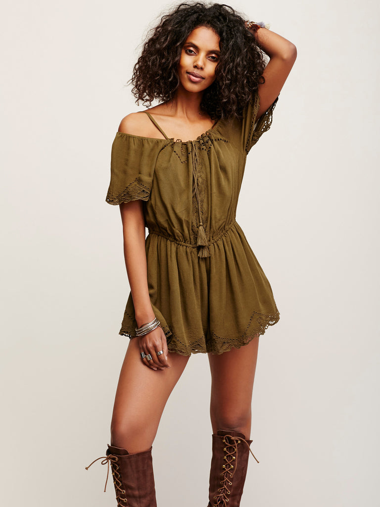 Free People White Romance Eyelet Off Shoulder Romper Olive Green XS