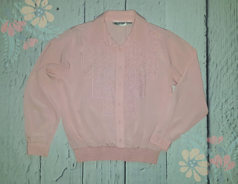 Vintage Yves St. Clair Embroidered Bomber Blouse Pink L 14