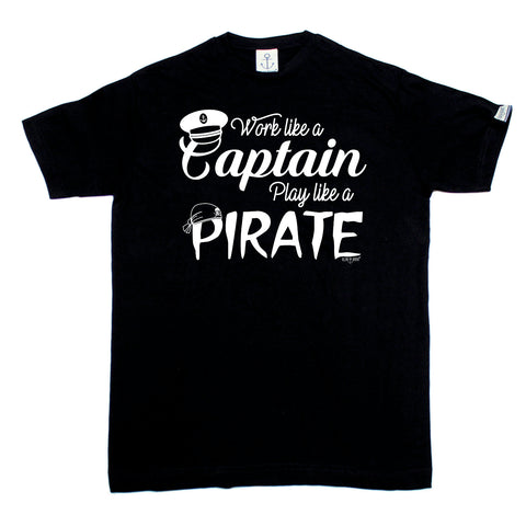 Ocean Bound Sailing Tee - Work Like A Captain Play Like A Pirate - Mens T-Shirt