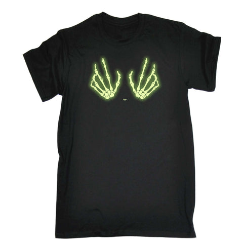 123t Funny Tee - Skeleton Hands Boobs Glow In The Dark - Mens T-Shirt