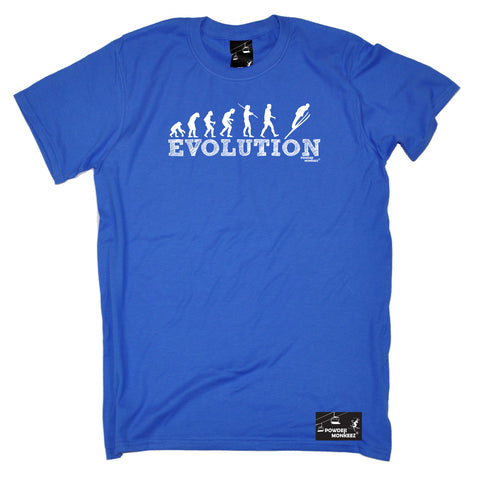 Powder Monkeez Skiing Snowboarding Tee - Ski Jumping Evolution - Mens T-Shirt