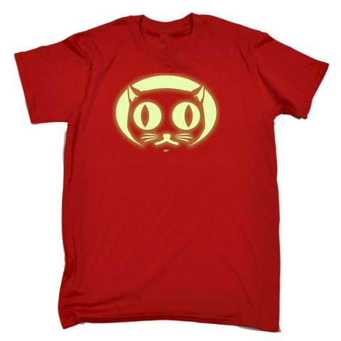 123t Kids Funny Tee - Halloween Cat Face Glow In The Dark - Childrens Top T-Shirt T Shirt