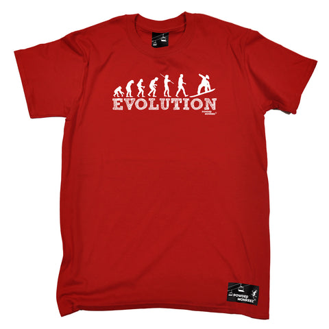 Powder Monkeez Skiing Snowboarding Tee - Board Evolution Snowboarder - Mens T-Shirt