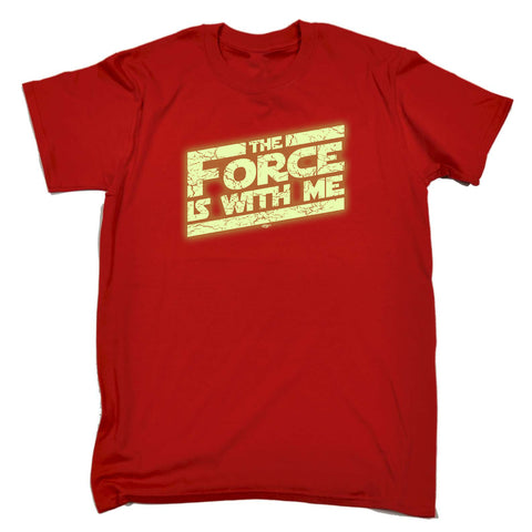 123t Funny Tee - The Force Is With Me Glow In The Dark - Mens T-Shirt
