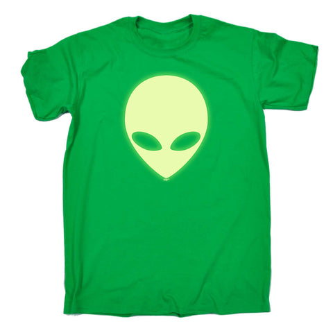 123t Funny Tee - Sci-Fi Head Glow In The Dark - Mens T-Shirt