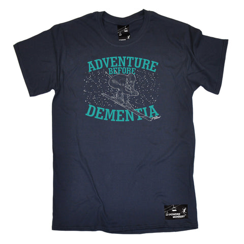 Powder Monkeez Skiing Snowboarding Tee - Ski Graphic Adventure Before Dementia Skiing - Mens T-Shirt