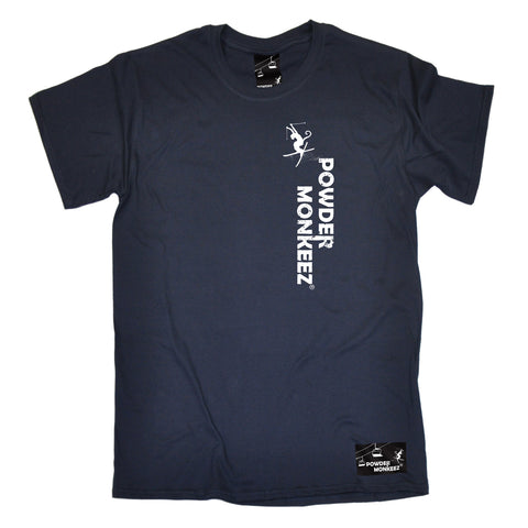 Powder Monkeez Skiing Snowboarding Tee - Vertical Logo - Mens T-Shirt