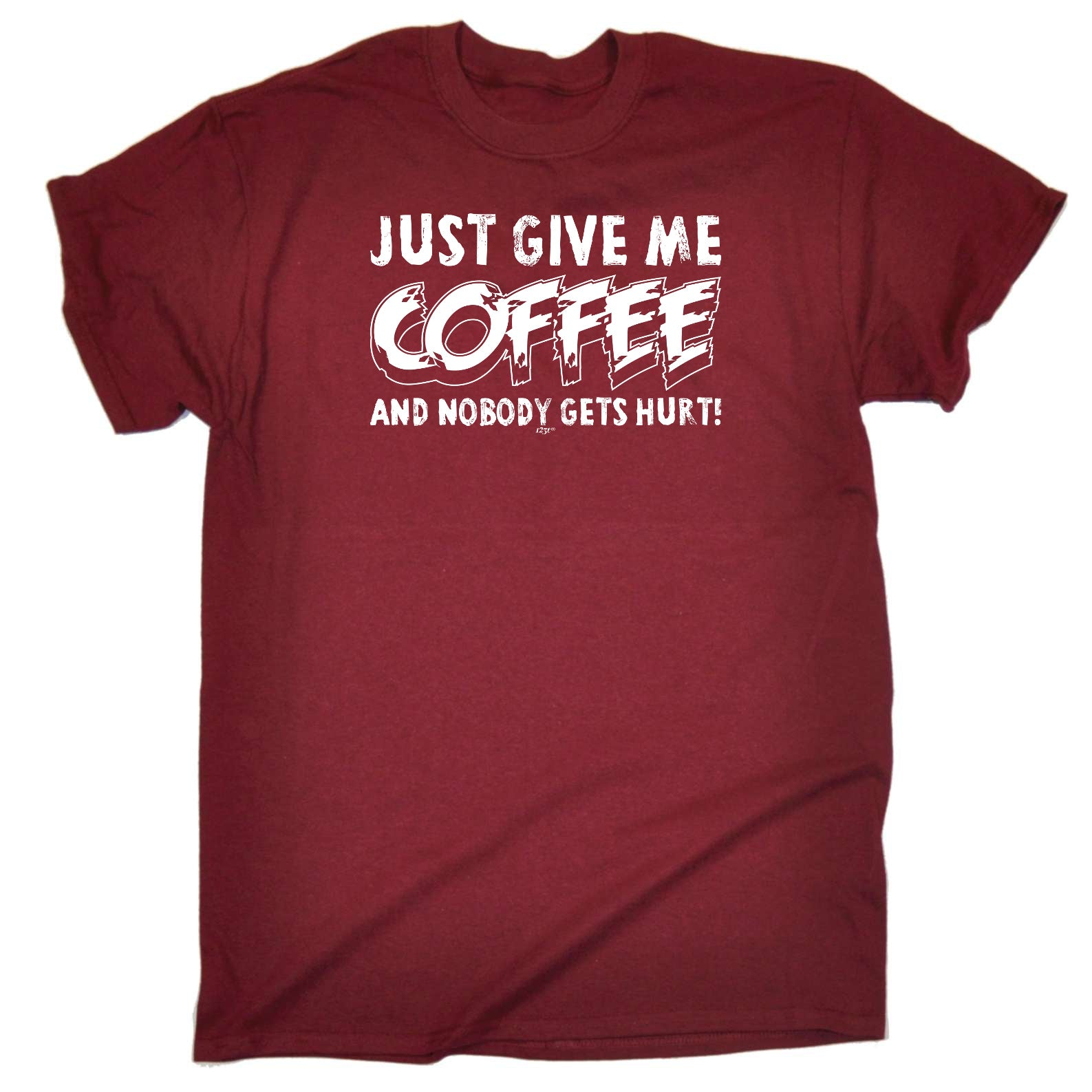 123t Funny Tee - Just Give Me The Coffee And Nobody Gets Hurt - Mens T-Shirt