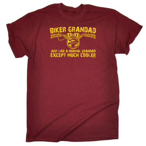 04158c4f4 123t Funny Tee - Biker Grandad Just Like A Normal Grandad - Mens T-Shirt