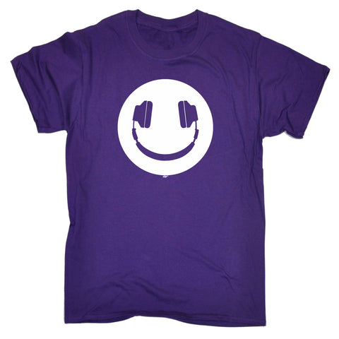 123t Kids Funny Tee - Headphone Dj Smile - Childrens Top T-Shirt T Shirt