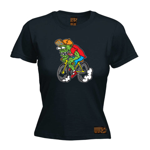 Ride Like The Wind Cycling Tee - Weirdo Cyclist -  Womens Fitted Cotton T-Shirt Top T Shirt