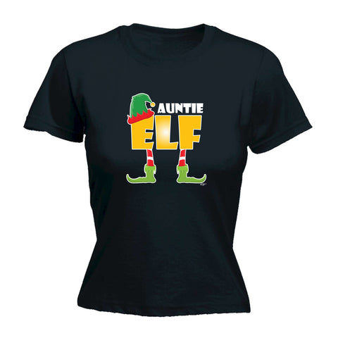 123t Funny Tee - Elf Auntie -  Womens Fitted Cotton T-Shirt Top T Shirt