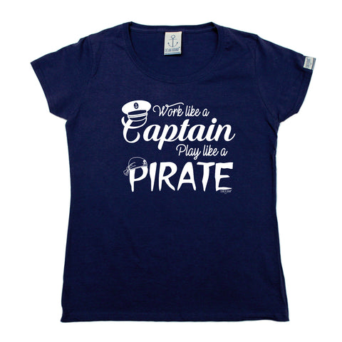 Ocean Bound Sailing Tee - Work Like A Captain Play Like A Pirate -  Womens Fitted Cotton T-Shirt Top T Shirt
