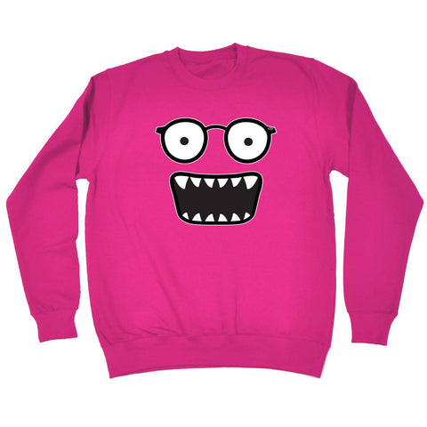 123t Funny Kids Sweatshirt - Glasses Monster - Sweater Jumper