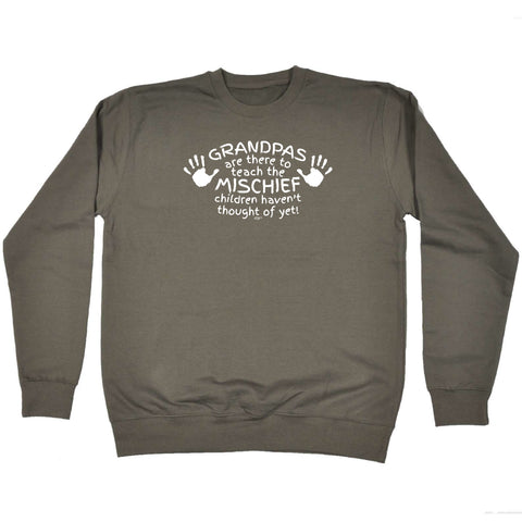123t Funny Kids Sweatshirt - Grandpas Are There To Teach The Mischief - Sweater Jumper