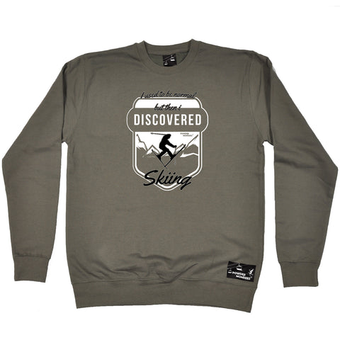 Powder Monkeez Skiing Snowboarding Sweatshirt - Ski I Used To Be Normal Skiing - Sweater Jumper