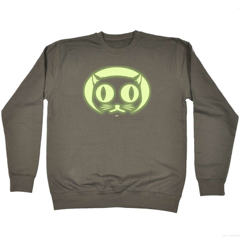 123t Funny Kids Sweatshirt - Halloween Cat Face Glow In The Dark - Sweater Jumper
