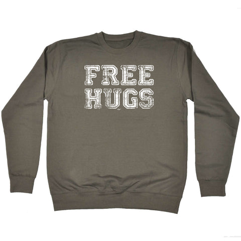 123t Funny Kids Sweatshirt - Free Hugs Distressed - Sweater Jumper