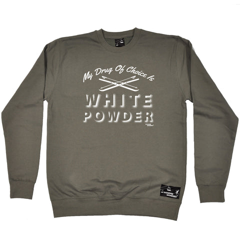 Powder Monkeez Skiing Snowboarding Sweatshirt - Ski My Drug Of Choice Is White Powder - Sweater Jumper