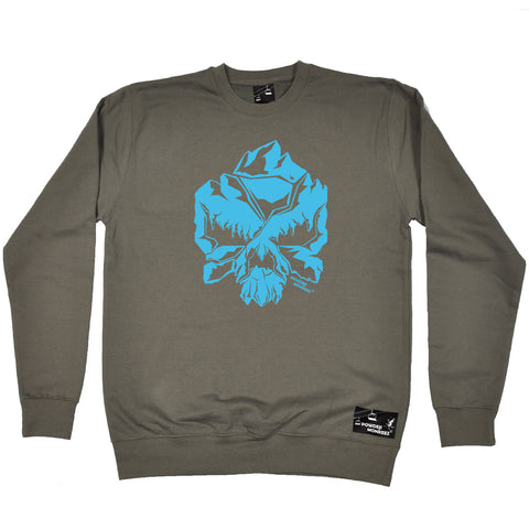 Powder Monkeez Skiing Snowboarding Sweatshirt - Skull Mountain Blue - Sweater Jumper