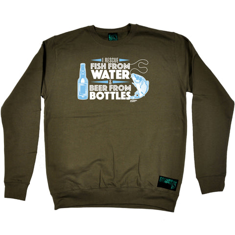 Drowning Worms Fishing Sweatshirt - I Rescue Fish From Water And Beer - Sweater Jumper