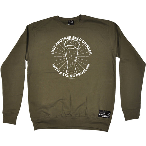Powder Monkeez Skiing Snowboarding Sweatshirt - Ski Just Another Beer Drinker Skiing Problem - Sweater Jumper