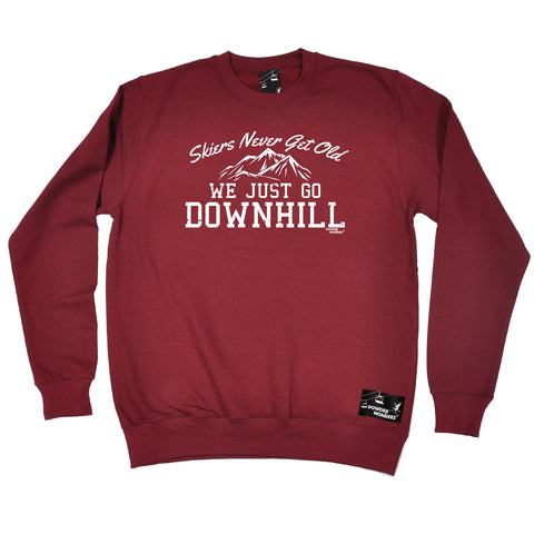 Powder Monkeez Skiing Snowboarding Sweatshirt - Ski Skiers Never Get Old We Just Go Downhill - Sweater Jumper