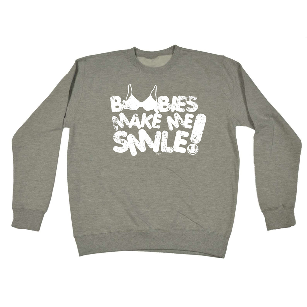 123t Funny Sweatshirt - Boobies Make Me Smile - Sweater Jumper