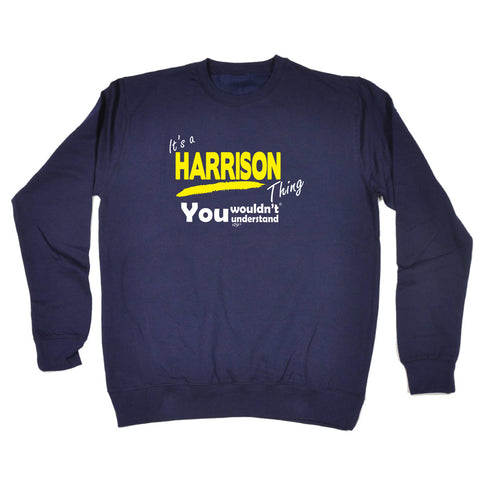 123t Funny Kids Sweatshirt - Harrison V1 Its A Surname Thing - Sweater Jumper