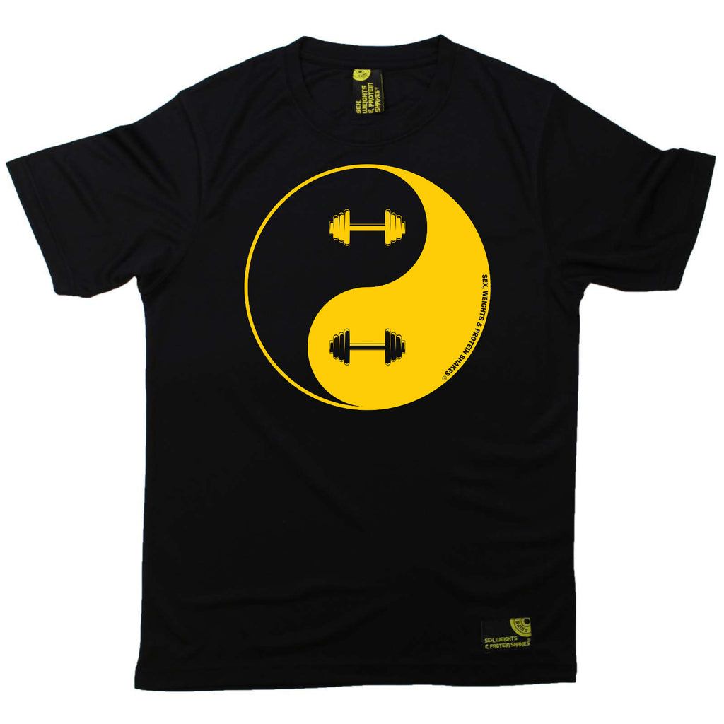 Sex Weights and Protein Shakes Gym Bodybuilding Tee - Dumbbell Yin Yang - Dry Fit Performance T-Shirt