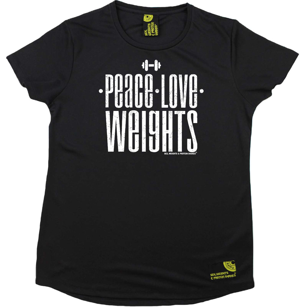Sex Weights and Protein Shakes Gym Bodybuilding Ladies Tee - Peace Love Weights - Round Neck Dry Fit Performance T-Shirt