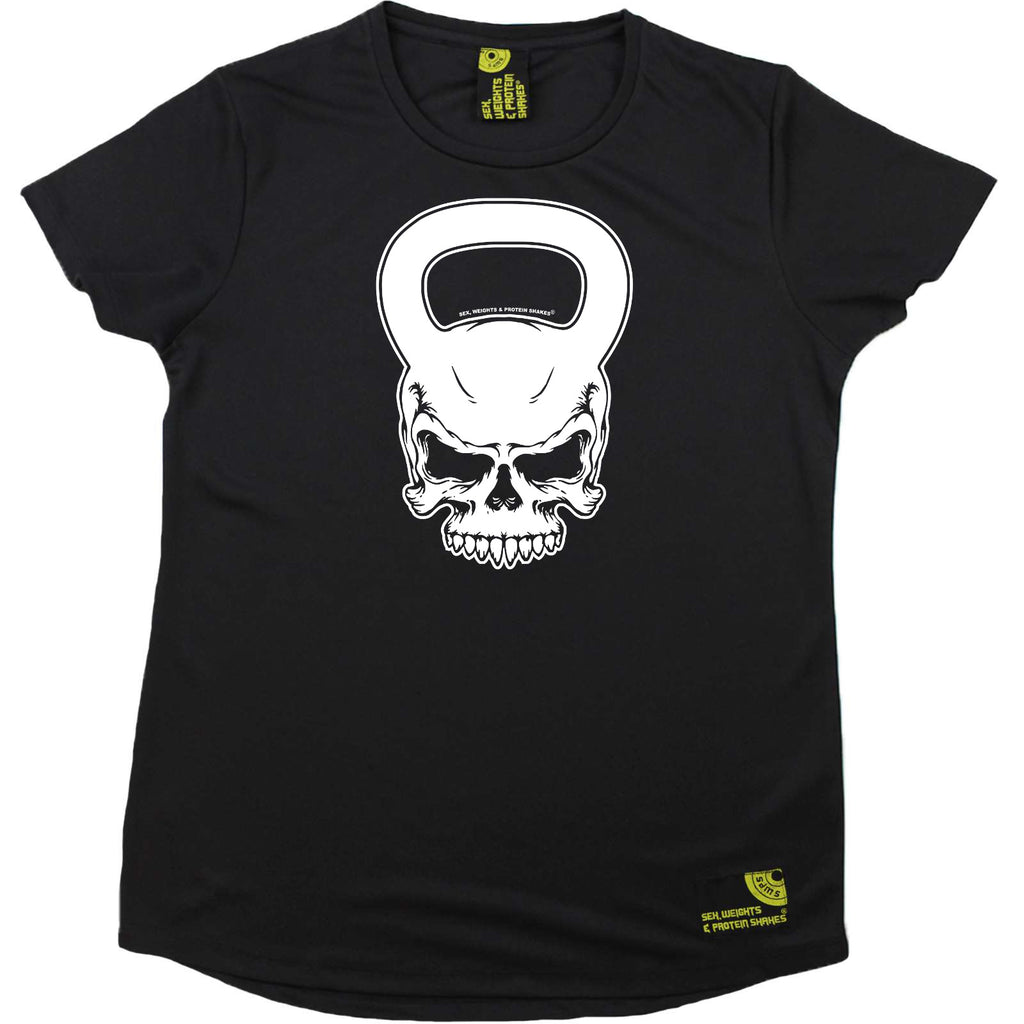 Sex Weights and Protein Shakes Gym Bodybuilding Ladies Tee - Kettlebell Skull - Round Neck Dry Fit Performance T-Shirt