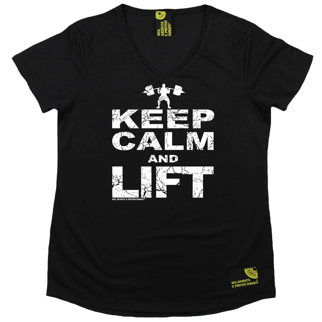 Sex Weights and Protein Shakes Womens Gym Bodybuilding Tee - Keep Calm Lift - V Neck Dry Fit Performance T-Shirt