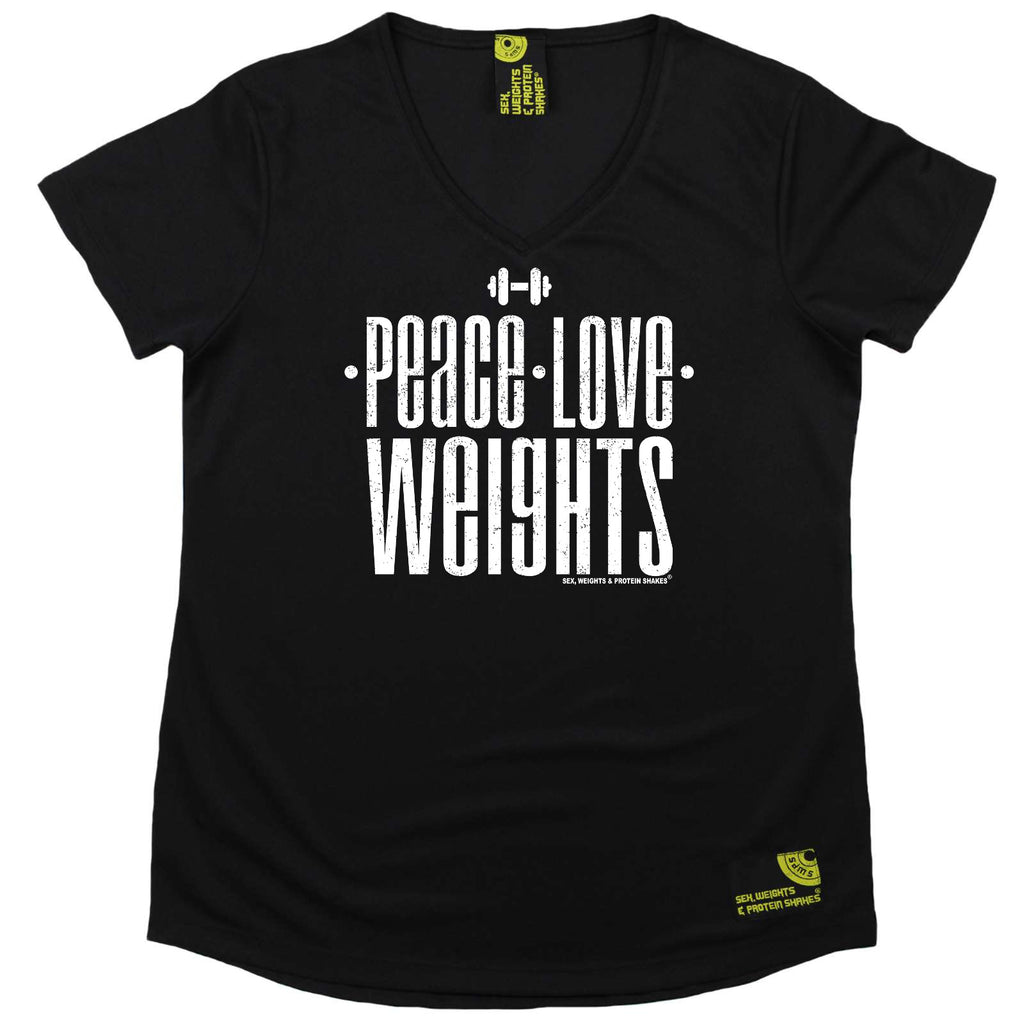 Sex Weights and Protein Shakes Womens Gym Bodybuilding Tee - Peace Love Weights - V Neck Dry Fit Performance T-Shirt