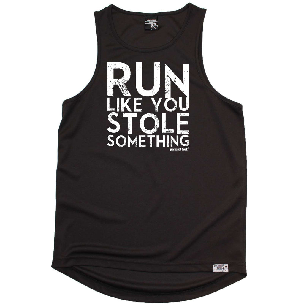 Personal Best Running Vest - Run Like You Stole Something Distressed - Dry Fit Performance Vest Singlet
