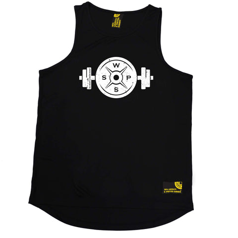 Sex Weights and Protein Shakes Gym Bodybuilding Vest - Weight Bar And Plate - Dry Fit Performance Vest Singlet