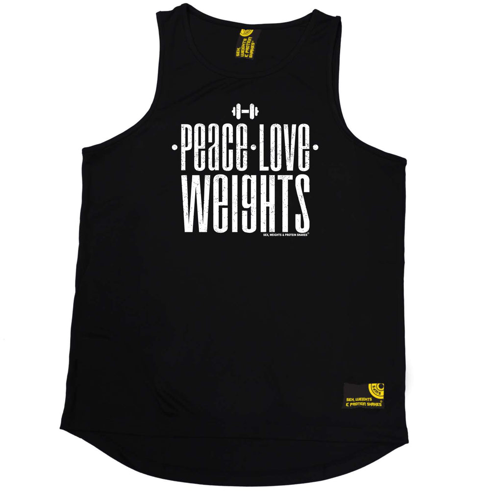 Sex Weights and Protein Shakes Gym Bodybuilding Vest - Peace Love Weights - Dry Fit Performance Vest Singlet