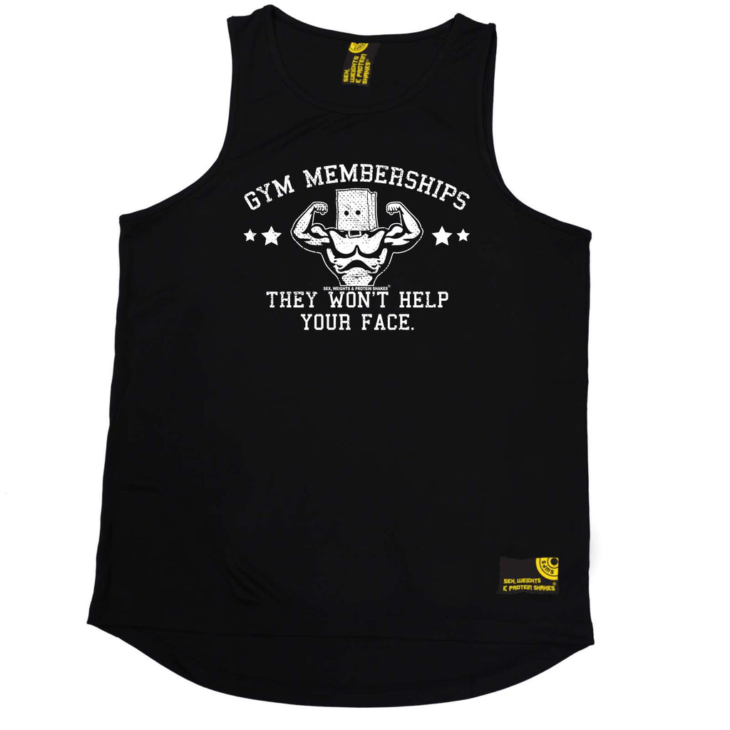 Sex Weights and Protein Shakes Gym Bodybuilding Vest - Gym Memberships They Wont Help - Dry Fit Performance Vest Singlet