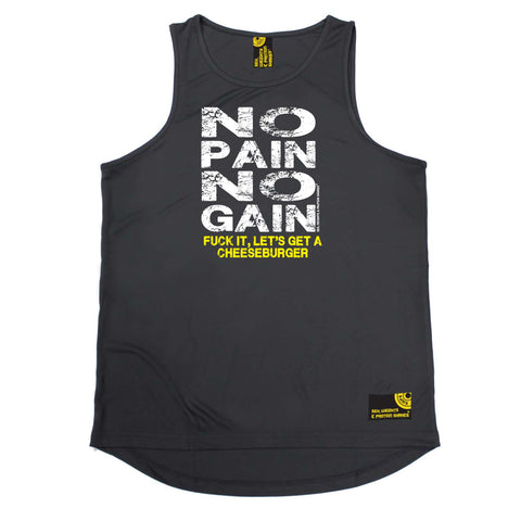 Sex Weights and Protein Shakes Gym Bodybuilding Vest - Burger No Pain No Gain - Dry Fit Performance Vest Singlet