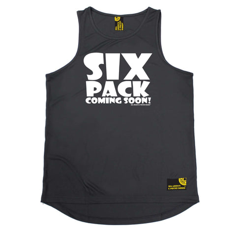 Sex Weights and Protein Shakes Gym Bodybuilding Vest - White Six Pack Coming Soon - Dry Fit Performance Vest Singlet