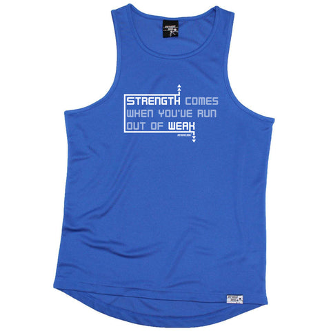 Personal Best Running Vest - Strength Comes When Youve Run Out Of Weak - Dry Fit Performance Vest Singlet