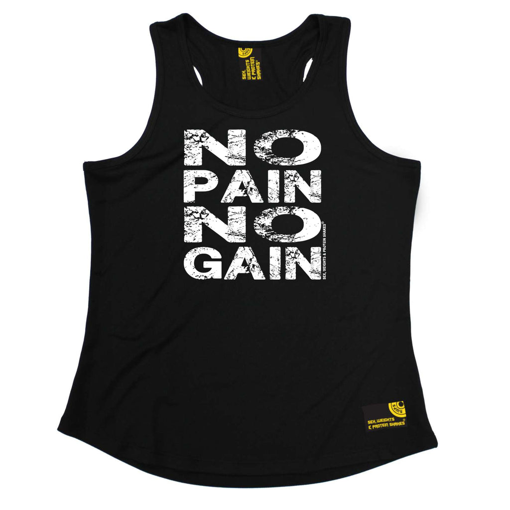 Sex Weights and Protein Shakes Womens Gym Bodybuilding Vest - No Pain No Gain - Dry Fit Performance Vest Singlet